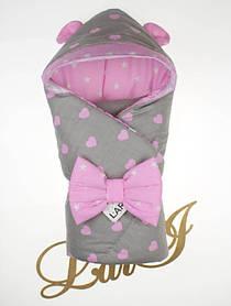 """Демисезонный конверт одеяло """"Микки"""" розовый"""