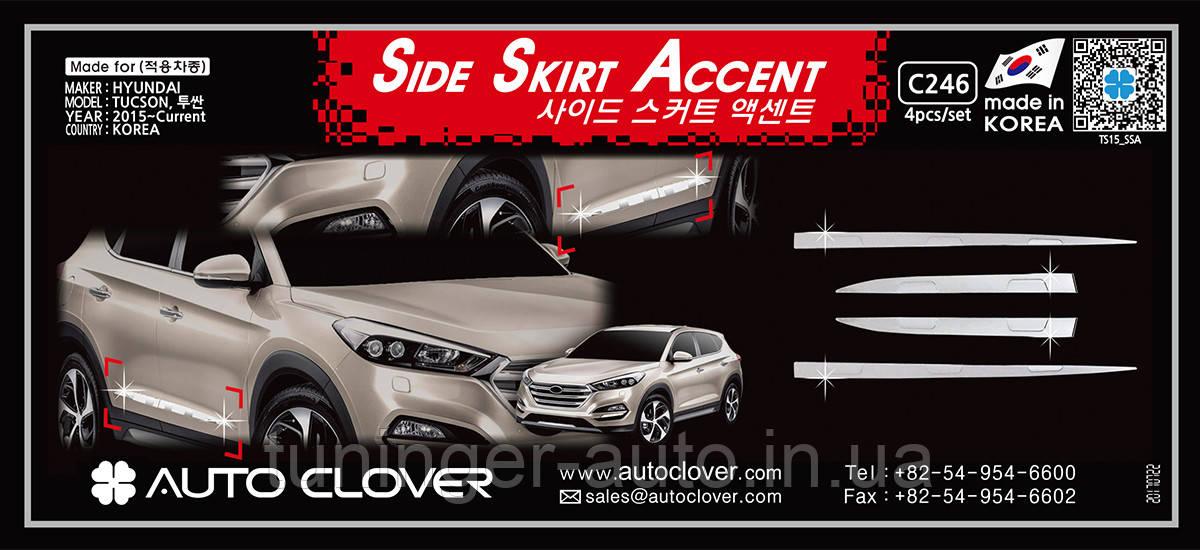 Хром молдинг на двери Hyundai Tucson 2015- (Autoclover/Корея/C246)