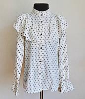 Детская школьная блузка для девочек 9 -13 лет молочного цвета в горошек