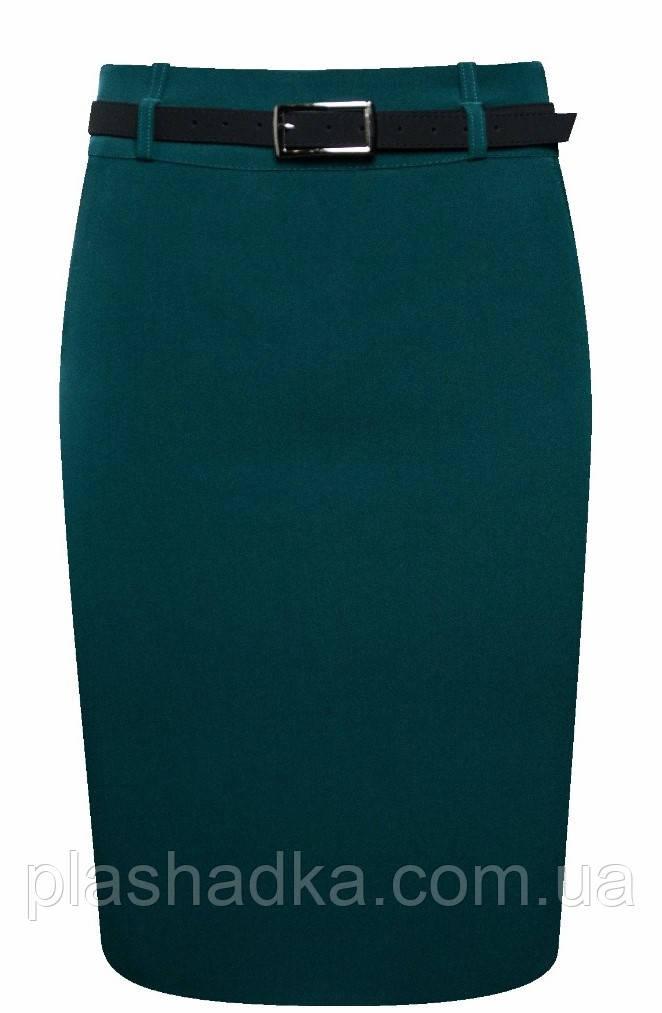 Классическая юбка- карандаш с ремешком из эко-кожи, изумрудная Hladysh 40,44   788-6