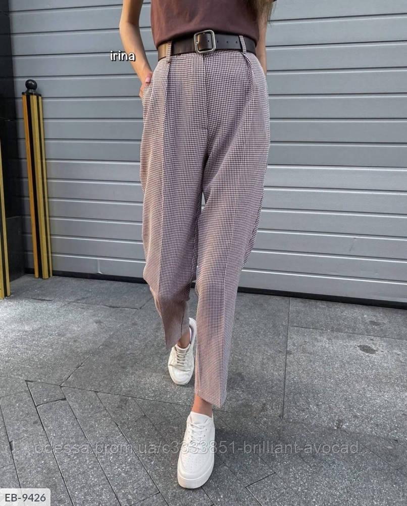 Модные женские брюки в клетку на высокой посадке