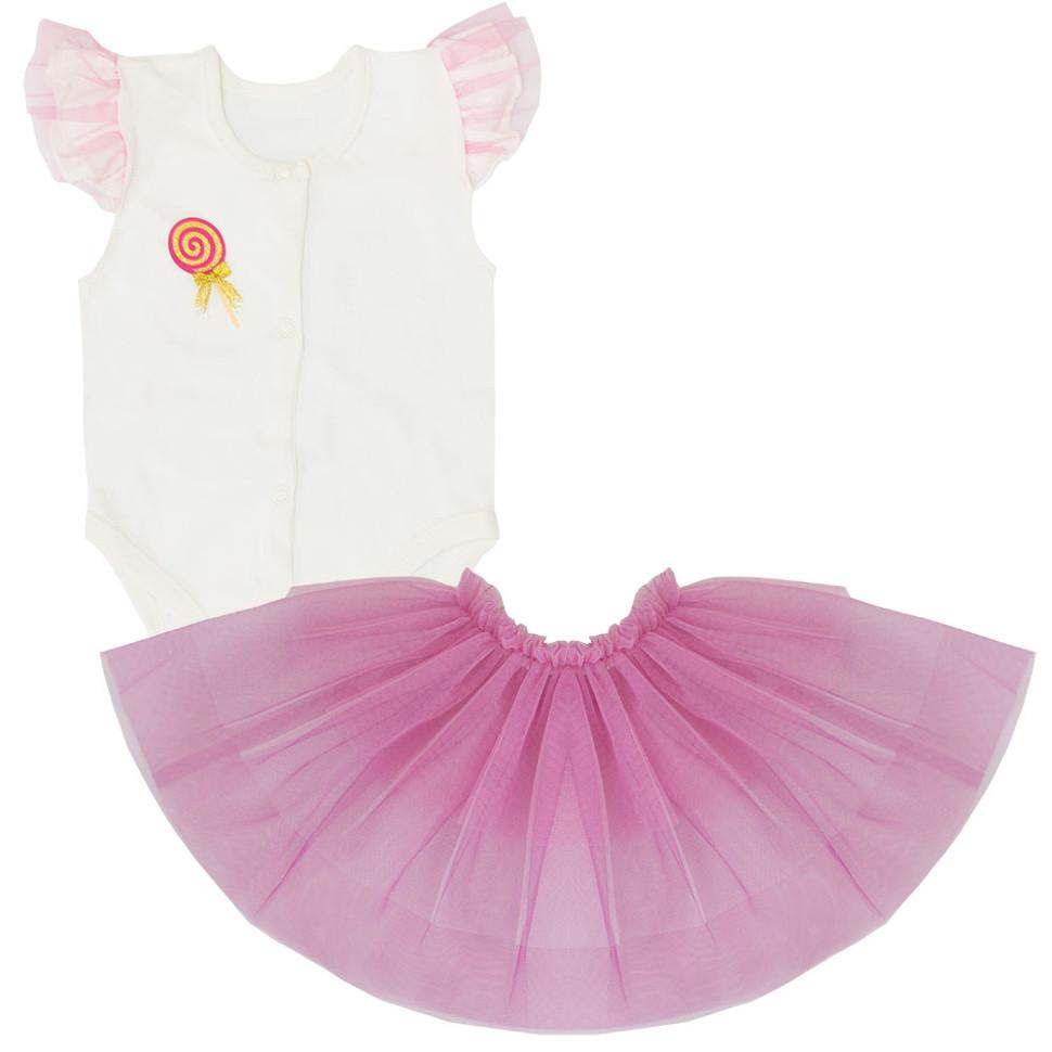Детское боди для девочки BD-19-12 *Радуга* с юбкой (размеры 56, 62. Цвета молочный, персиковый, розовый))