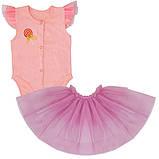 Детское боди для девочки BD-19-12 *Радуга* с юбкой (размеры 56, 62. Цвета молочный, персиковый, розовый)), фото 3