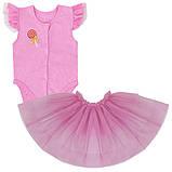 Детское боди для девочки BD-19-12 *Радуга* с юбкой (размеры 56, 62. Цвета молочный, персиковый, розовый)), фото 2