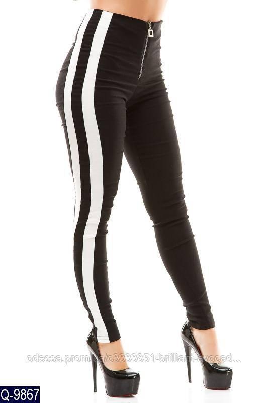 Женские брюки с высокой талией и лампасами