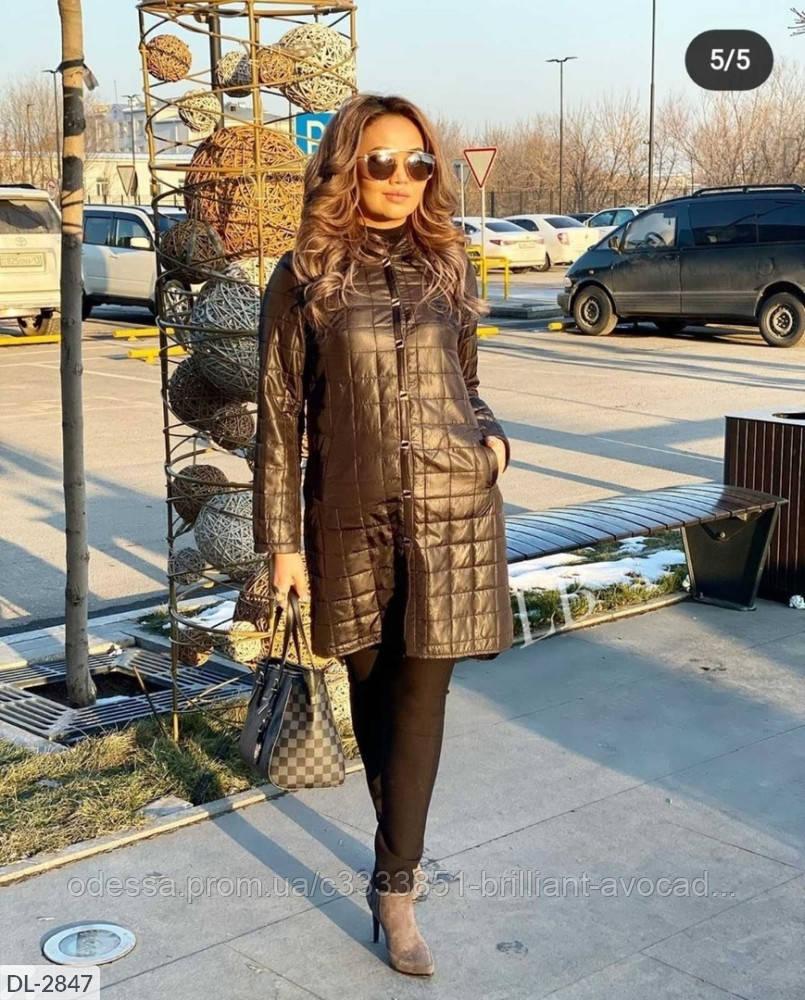 Женская стёганная куртка тренч в больших размерах с капюшоном