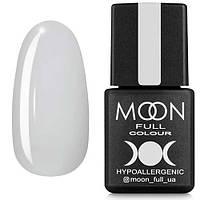 Гель-лак MOON FULL №202 белый полупрозрачный с блестками