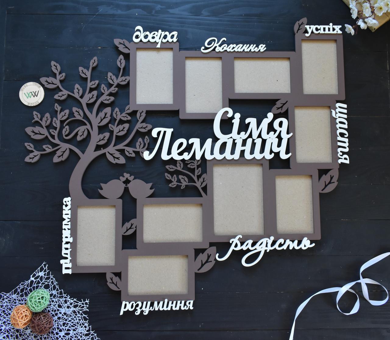 Деревянная семейная настенная фоторамка с фамилией и словами на 10 фото