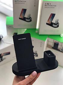 Мультизарядка, беспроводное зарядное устройство 3в1 (Wireless Charger Qi + iWatch + AirPods)