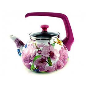 """Чайник эмалированный 2,2 л. Interos """"Орхидея"""" 15116"""