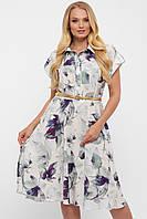 Красивое платье светлое с нежным принтом с отрезной талией под пояс и юбкой солнце-клеш размер 48-56