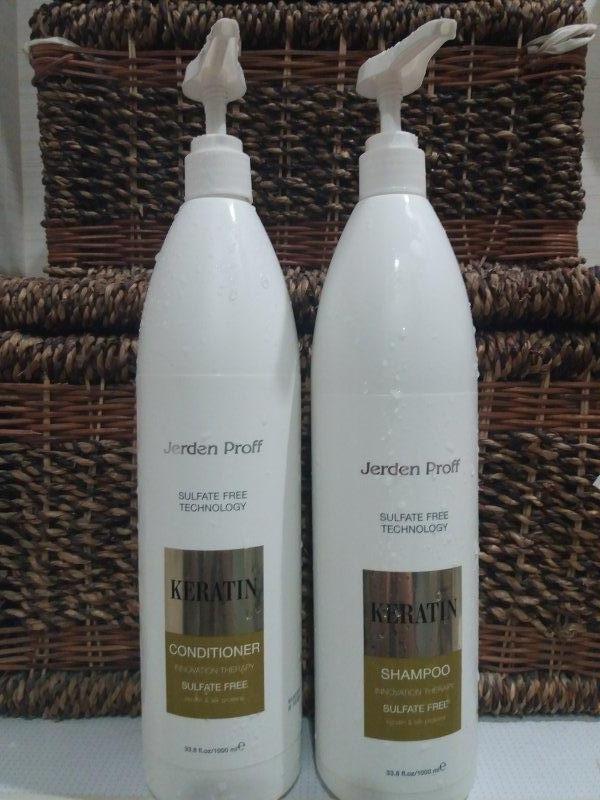 НАБІР!!! Безсульфатний шампунь і кондиціонер з кератином і протеїнами шовку JERDEN PROFF,1000 мл
