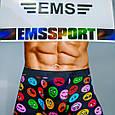 Трусы мужские 50-52 размер EMS смайлы синие, фото 4