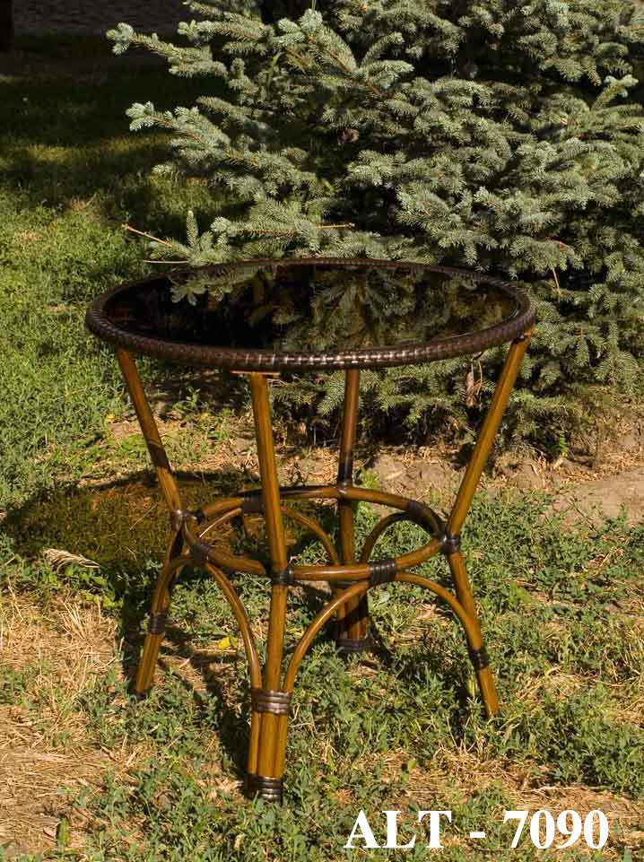Стол для открытых площадок из алюминия и искусственного ротанга  ALT - 7090 цвет коричневый