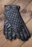 Женские кожаные перчатки Shust Аманда сенсорные черные