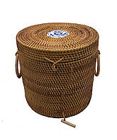 Плетеная корзина круглая с крышкой