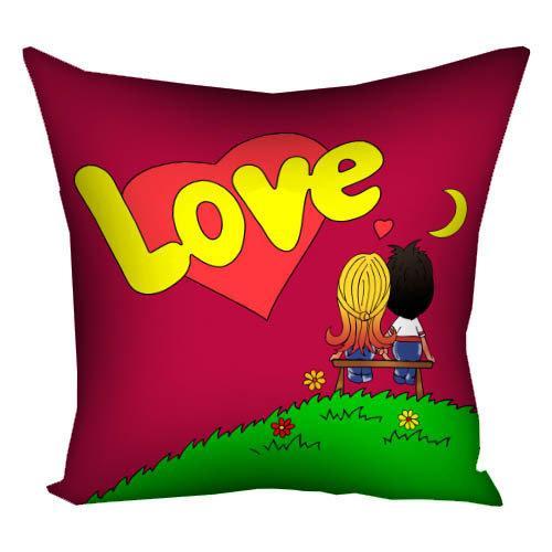 """Подушка """"Love is..."""" (малиновая) - Подарок для влюбленных - Любимому подарок - Подарок на 14 февраля"""