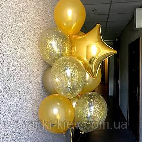 Связка шаров в золоте со звездой и шарами с конфети, фото 2