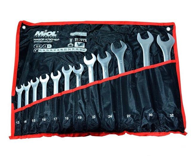 Набор ключей комбинированных 12 шт (13-32мм) в брезенте Миол 51-714
