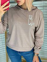 Батник жіночий, з капюшоном, з принтом Мокко, фото 1