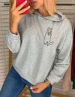 Батник жіночий, з капюшоном, з принтом Меланж, фото 1