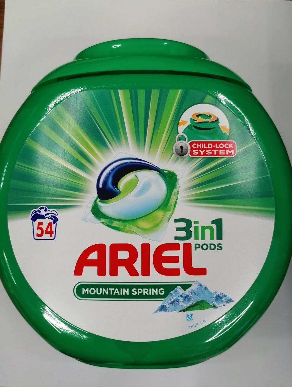 Капсулы для стирки универсальные Ariel 3-в-1 Mountain Spring, 54 шт