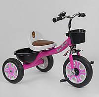 Велосипед детский трёхколёсный Best Trike, Розовый, пено колесо, металл рама, звоночек, 2 корзины, LM-2806