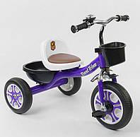 Велосипед детский трёхколёсный Best Trike, Фиолетовый, пено колесо, металл рама, звоночек, 2 корзины, LM-1355
