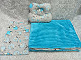 Комплект постельного белья для новорожденных Манюня в кроватку ( коляску) плед + подушка + простынь, фото 2