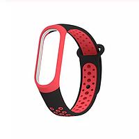 Силиконовый цветной ремешок красно-черный на фитнес трекер Xiaomi mi band 4 / 3 браслет аксессуар замена
