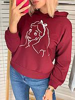 Батник женский, с капюшоном, с принтом, стильный Бордовый, фото 1