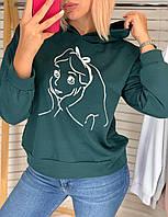 Батник женский, с капюшоном, с принтом, стильный Бутылка, фото 1