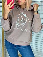 Батник женский, с капюшоном, с принтом, стильный Мокко, фото 1