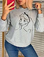 Батник жіночий, з капюшоном, з принтом, стильний Сірий, фото 1