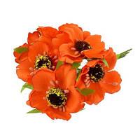 Маки оранжевые 4,5 см Декоративный букетик 3 шт/уп