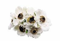 Маки белые 4,5 см Декоративный букетик 3 шт/уп