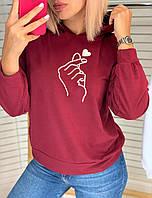 Батник женский капюшоном, стильный принтом Бордовый, фото 1