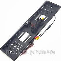 Камера заднего вида в авто номерной рамке с 16 LED подсветкой Black, фото 3