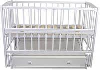 Детская кроватка BabyMax Magia с маятниковым механизмом и ящиком Белая