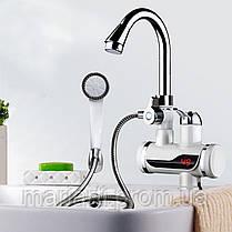 Проточный кран с нагревателем воды, кран с душем водонагреватель электро, нижнее, фото 3