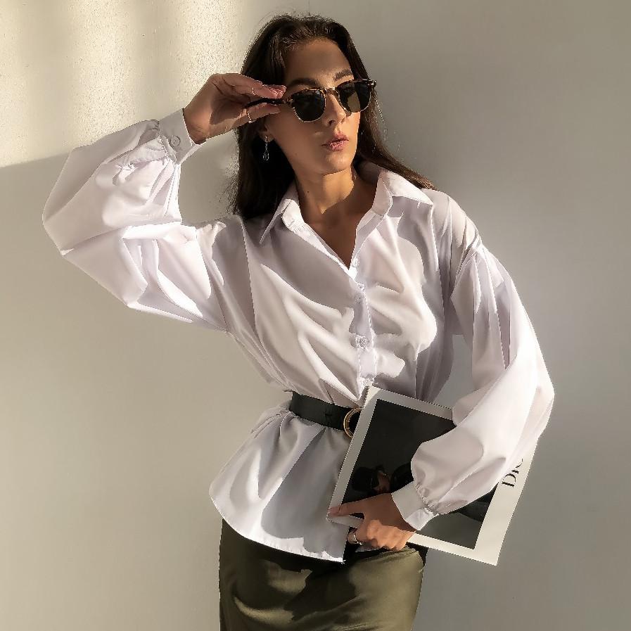Женская рубашка с пышными рукавами