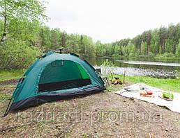 Палатка с автоматическим каркасом четырехместная зеленая