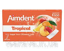 Жувальна гумка без цукру зі смаком тропічних фруктів Aimdent TROPICAL, 7 шт/уп (жевачка, жуйка)