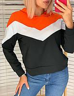 Батник жіночий капюшоном, стильний триколірний Помаранчевий, фото 1