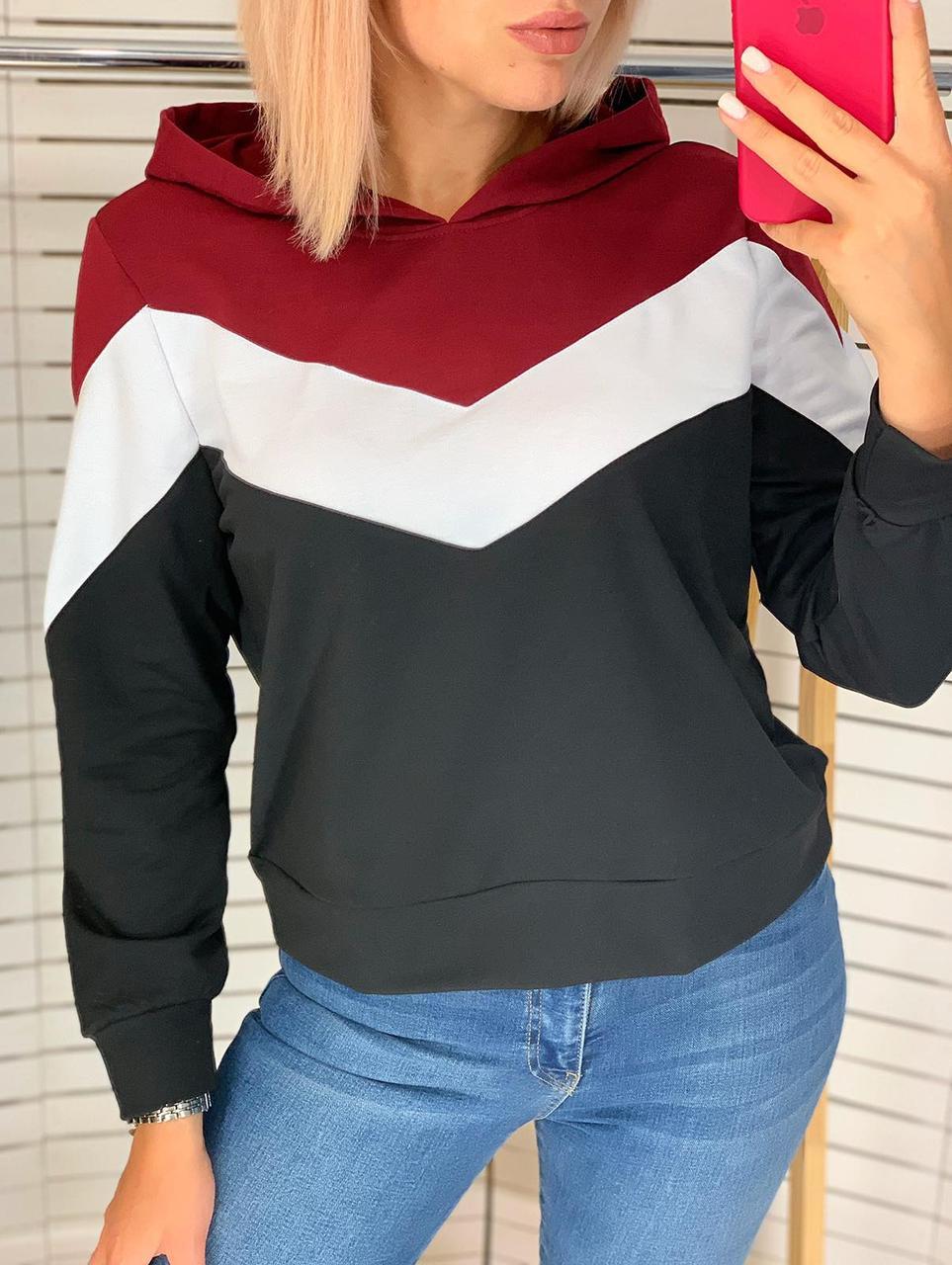 Батник женский капюшоном, стильный трехцветный Бордовый