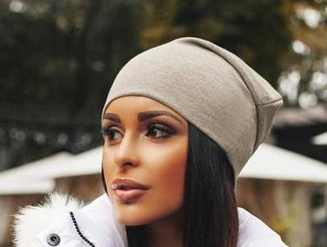 Женская трикотажная шапка чулок, цвет серый