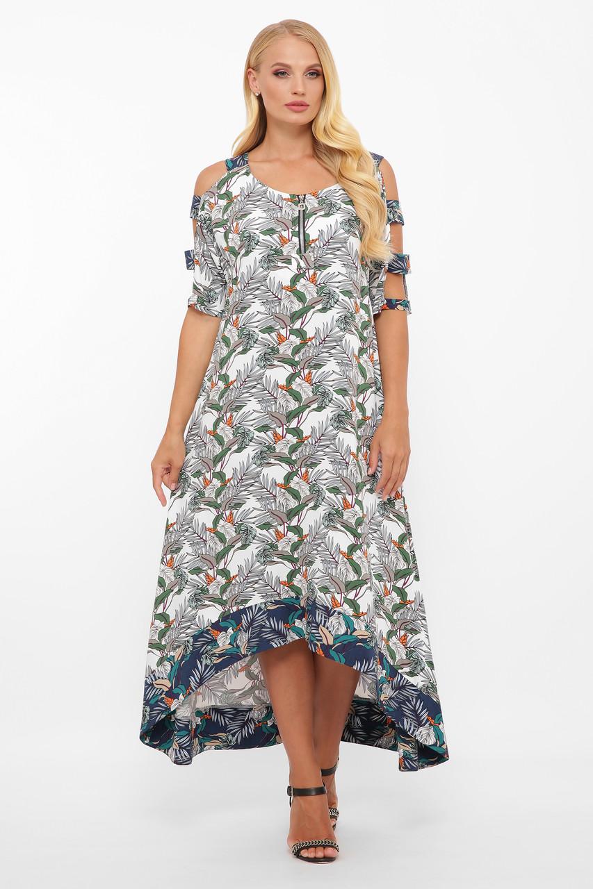 Летнее платье в пол Тропикана белое