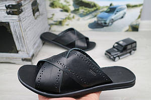 Мужские шлепанцы кожаные летние черные Bonis Original 47
