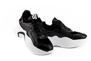 Женские кроссовки кожаные весна/осень черные-белые ANRI-de-colo 655/158