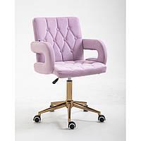 Парикмахерское кресло Hrove Form HR8404K вереск велюр золотая основа, фото 1